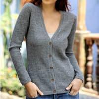 Women's Alpaca Wool 'Andean Mist' Cardigan Sweater (Peru)
