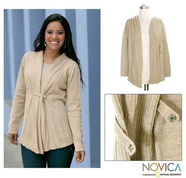 Women's Alpaca Wool 'Dunes' Cardigan Sweater (Peru)
