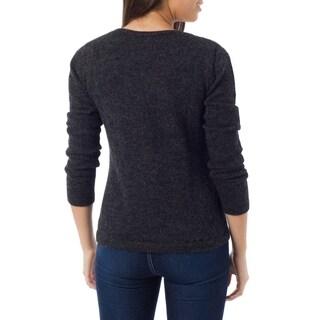 Handmade Women's Alpaca Wool 'Onyx Charm' Sweater (Peru) (As Is Item)