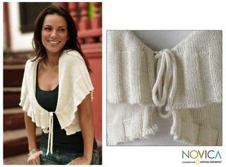 Women's Alpaca Wool 'Ruffled Cream' Sweater (Peru)