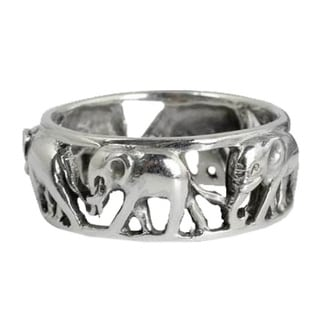 Sterling Silver 'Elephant Walk' Band (Thailand)