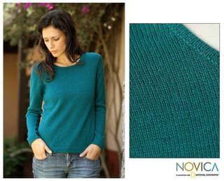 Handmade Women's Alpaca Wool 'Teal Charm' Sweater (Peru)