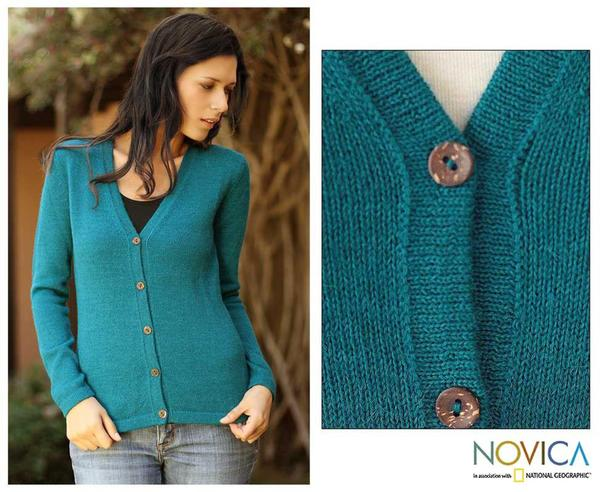 Handmade Women's Alpaca Wool 'Turquoise Sea' Cardigan Sweater (Peru)