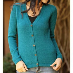 Handmade Women's Alpaca Wool 'Turquoise Sea' Cardigan Sweater (Peru)
