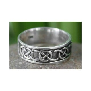 Handmade Love's Geometry Men's Sterling Silver Band Ring (Thailand)
