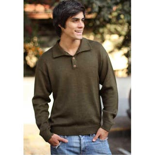 Handmade Men's Alpaca Wool 'Olive' Sweater (Peru)|https://ak1.ostkcdn.com/images/products/6219905/Mens-Alpaca-Wool-Olive-Sweater-Peru-P13864457.jpg?impolicy=medium