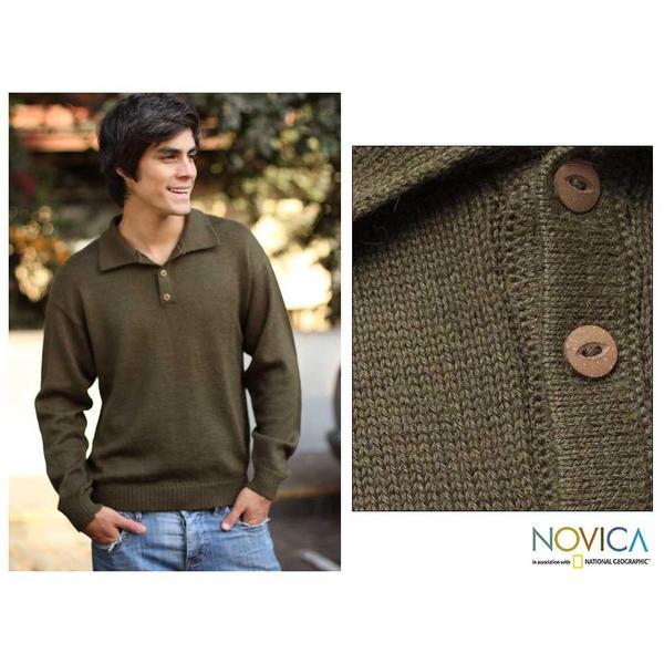 Handmade Men's Alpaca Wool 'Olive' Sweater (Peru)