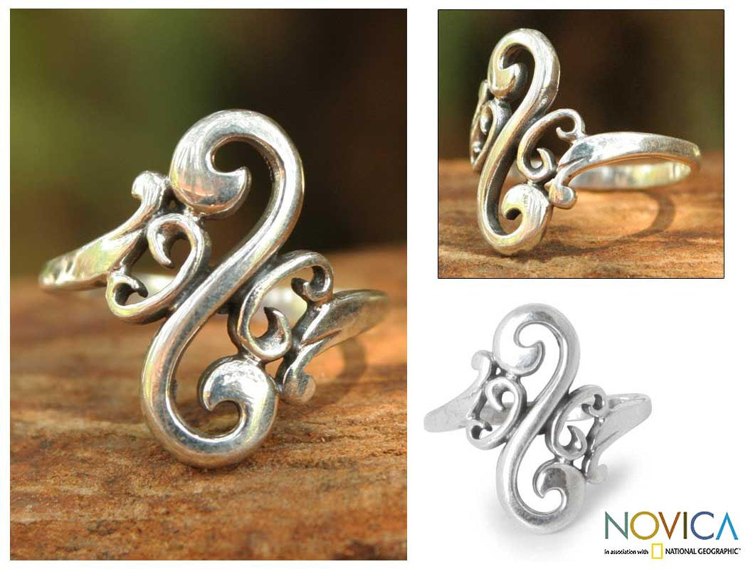 Handmade Sterling Silver 'Arabesque Curl' Cocktail Ring (Thailand)