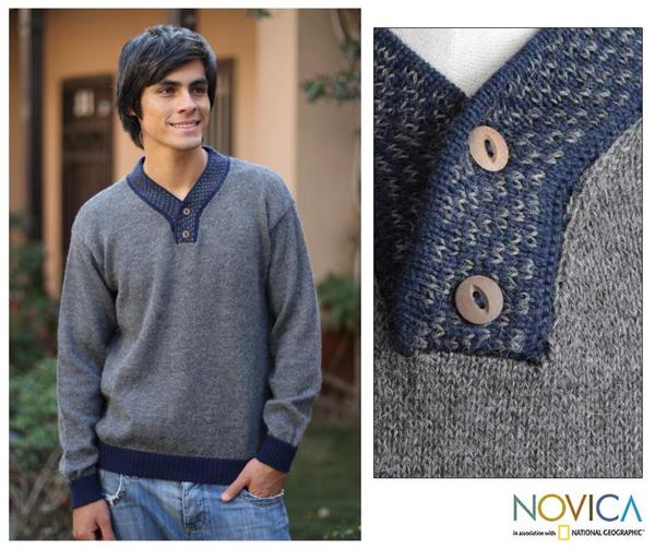 Handmade Men's Alpaca Wool 'Grey Day' V-neck Sweater (Peru)