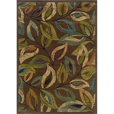 "Brown/Green Transitional Area Rug (6'7 x 9'6) - 6'7"" x 9'6"""