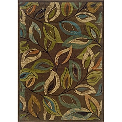 Brown/Green Transitional Area Rug (6'7 x 9'6)