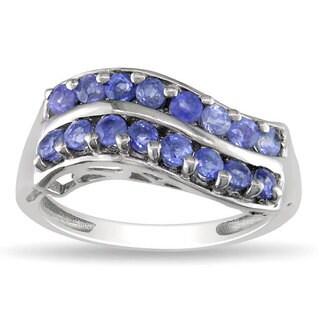 Miadora Sterling Silver Two-row Sapphire Fashion Ring