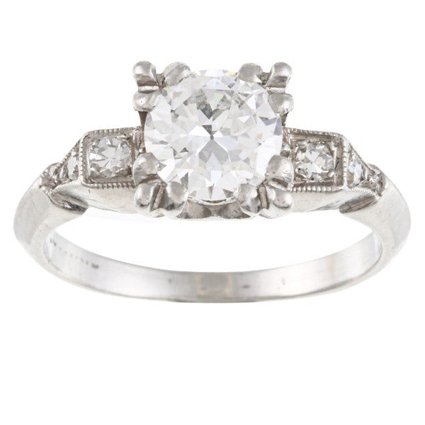 Platinum 1ct TDW Estate Engagement Ring (H-I, VS1-VS2)