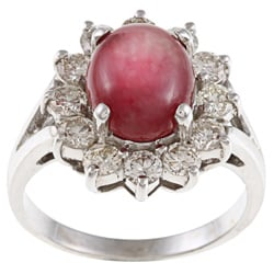 Pre-owned 14k White Gold Ruby and 1 1/4ct TDW Diamond Estate Ring (J-K, VS1-VS2)