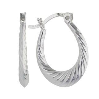 Sunstone Sterling Silver Twist Design Hoop Earrings