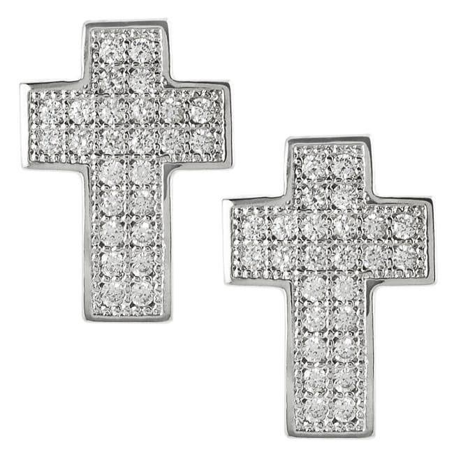 Journee Collection Silvertone Cubic Zirconia Cross Earrings