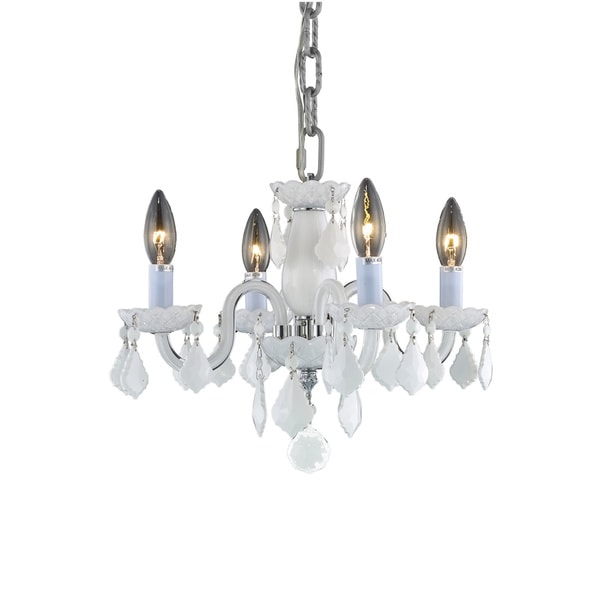 Somette Crystal 4-light White Chandelier
