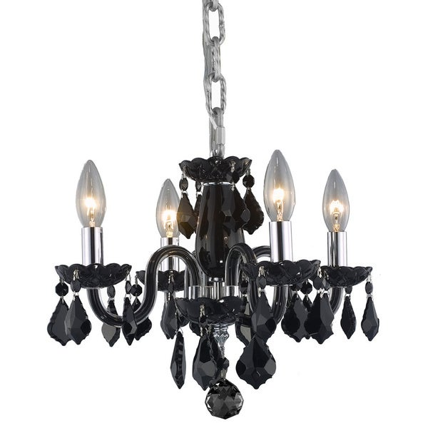 Somette Crystal 4-light Black Chandelier