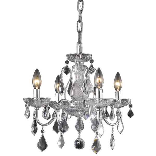 Somette Crystal Four-Light Chrome Chandelier with Hardwired Switch