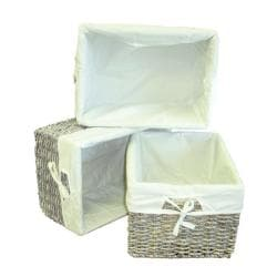 Woven Maize Grey Rectangular Storage Baskets (Set of 3)