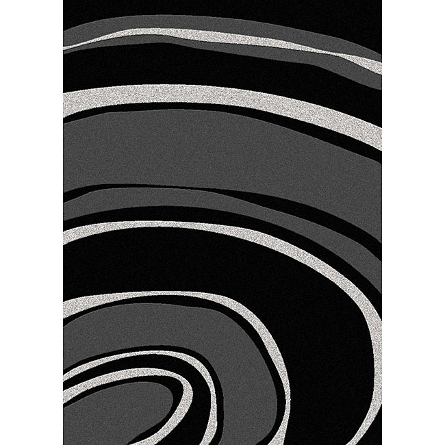 Admire Home Living Brilliance Curves Black/ Grey Area Rug - 3'3 x 4'11