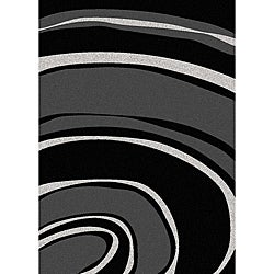 Admire Home Living Brilliance Curves Black/ Grey Area Rug - 3'3 x 4'11 - Thumbnail 0