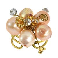 Handmade Peach Pearl Crystal Flower Adjustable Handmade Ring (Thailand)