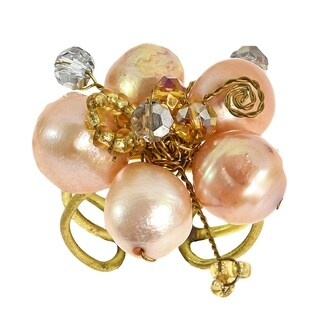 Handmade Peach Pearl Crystal Flower Adjustable Handmade Ring (Thailand)