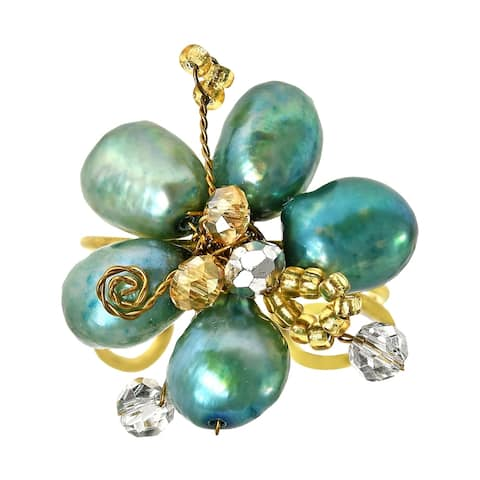 Handmade Goldtone Green Pearl and Crystal Floral Adjustable Ring (Thailand)