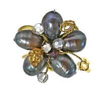 Handmade Black Pearl Crystal Flower Adjustable Handmade Ring (Thailand)