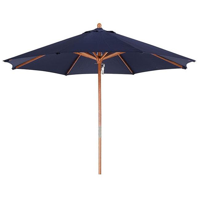 Lauren & Company Premium 9-foot Round Navy Blue Wood Patio Umbrella