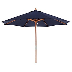 Lauren & Company Premium 9-foot Round Navy Blue Wood Patio Umbrella