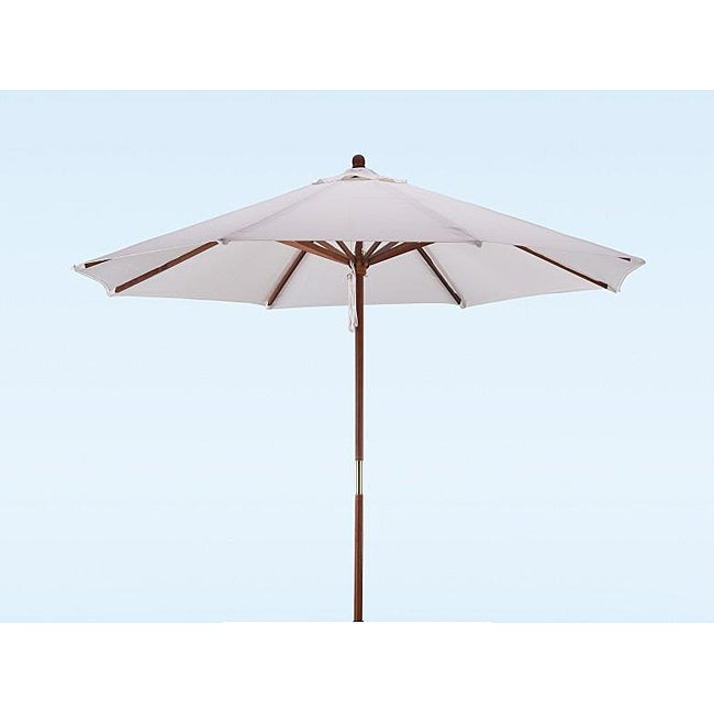 Lauren U0026 Company Premium 9 Foot Round Natural White Wood Patio Umbrella