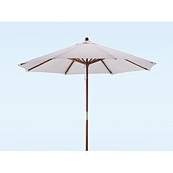 company premium 9 foot round natural white wood patio umbrella