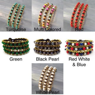 Set of 3 Brass and Gemstone Bead Link Bracelets (Thailand)