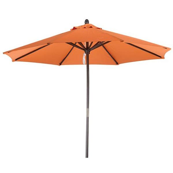 Lauren & Company Premium 9-foot Round Tuscan Orange Wood Patio Umbrella