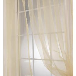 Exclusive Fabrics Soft Gold Faux Organza 120- inch Sheer Curtain Panel Pair - Thumbnail 1