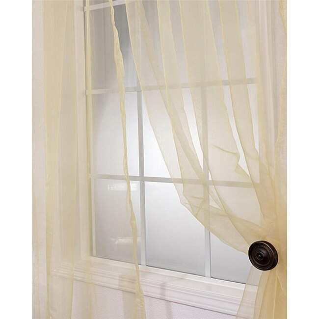 Exclusive Fabrics Soft Gold Faux Organza 120- inch Sheer Curtain Panel Pair