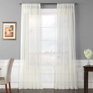Exclusive Fabrics Off White Poly Voile Sheer Curtain Panel Pair