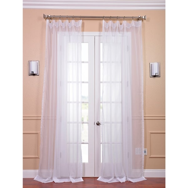 Exclusive Fabrics White Poly Voile Sheer Curtain Panel Pair