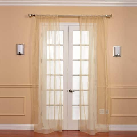 Exclusive Fabrics Soft Gold Faux Organza Sheer Curtain Panel Pair