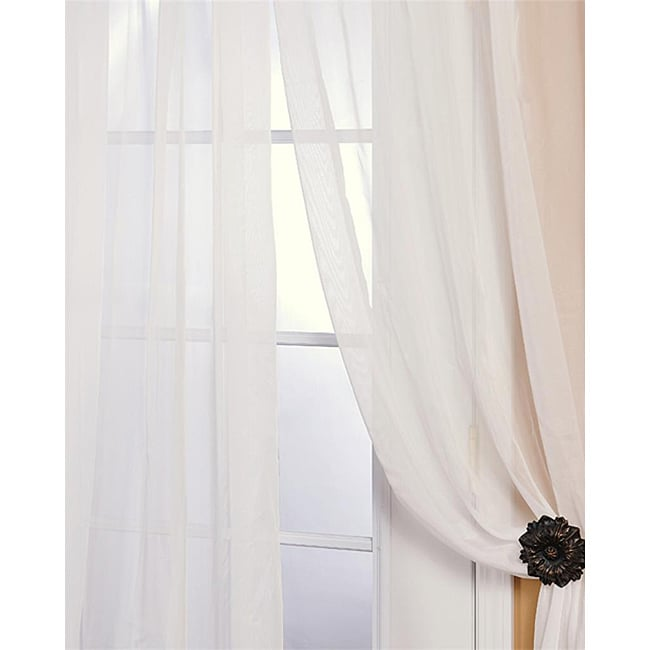 Exclusive Fabrics Off White Poly Voile 96-inch Sheer Curtain Panel Pair