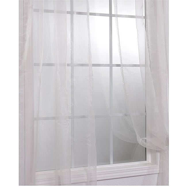Exclusive Fabrics Off White Faux Organza 84-inch Sheer Curtain Panel Pair