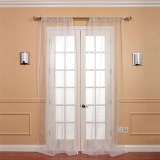 Exclusive Fabrics White Faux Organza Sheer Curtain Panel Pair
