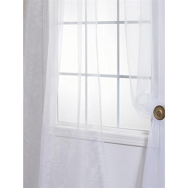 Exclusive Fabrics White Poly Voile 96-inch Sheer Curtain Panel Pair - Thumbnail 0