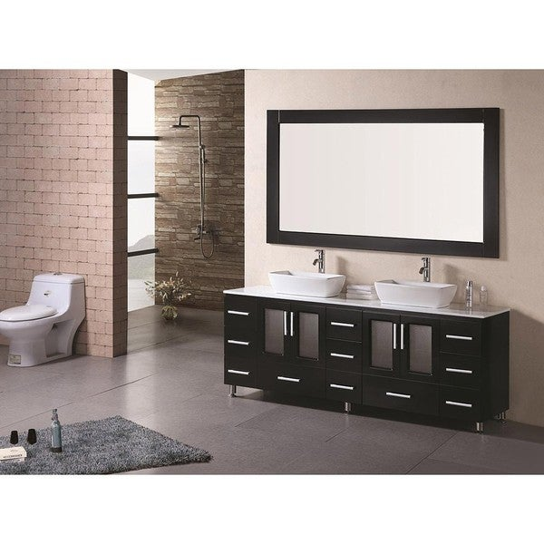 Design Element Stanton 72 Inch Double Sink Bathroom Vanity With Vessel Sinks