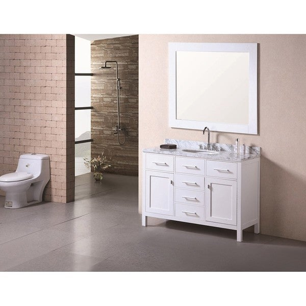 Design Element London Modern Bathroom Vanity Set with Marble Top