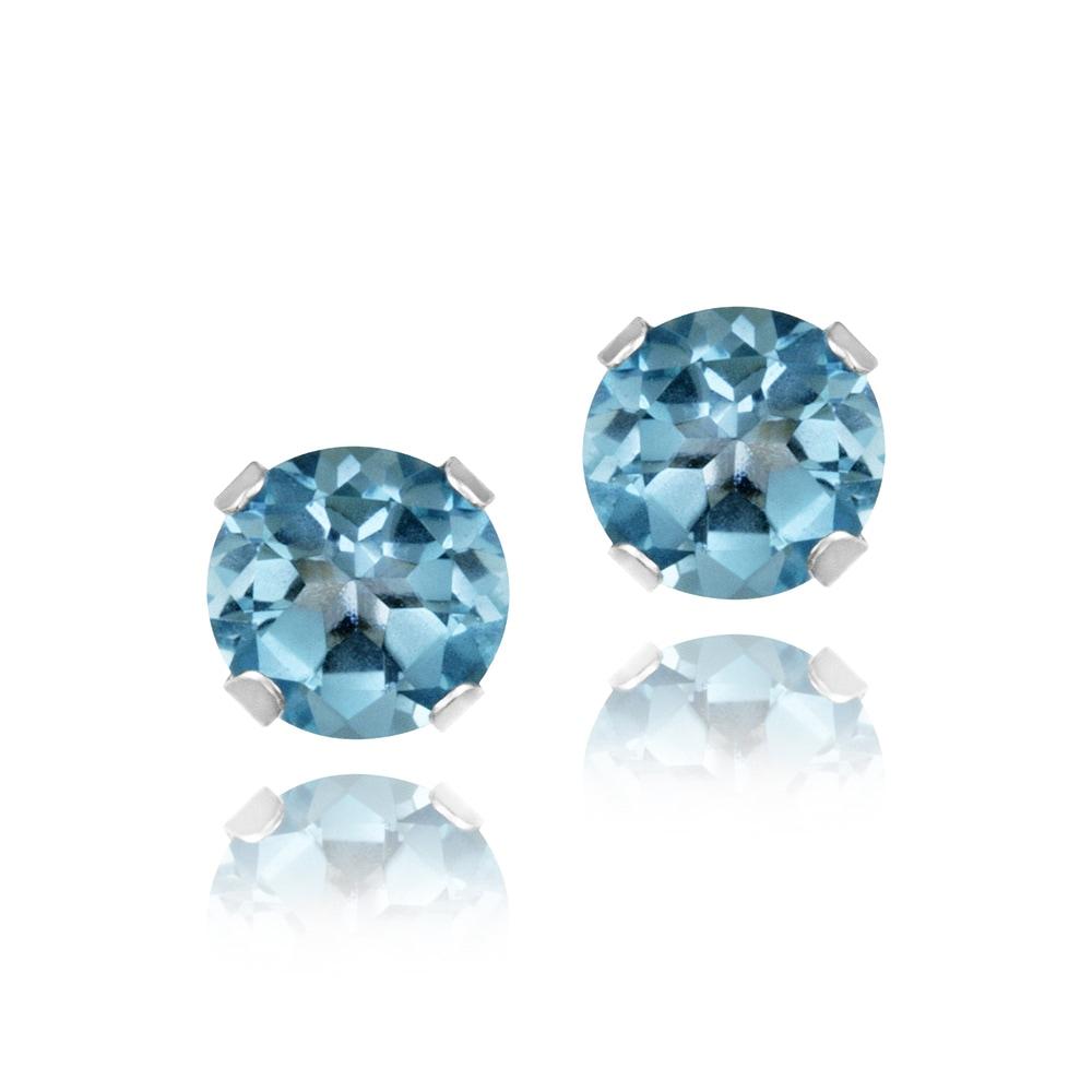 Glitzy Rocks 14k White Gold 5/8ct TGW 4mm London Blue Topaz Stud Earrings