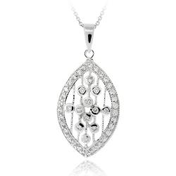 Icz Stonez Rhodiumplated Cubic Zirconia Raindrop Necklace