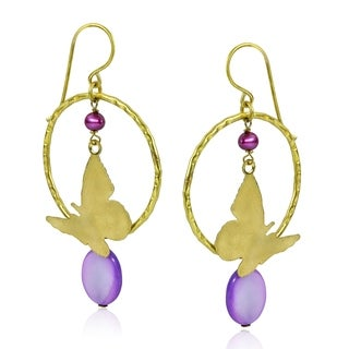 Handmade Goldtone Mother of Pearl and Purple Pearl Butterfly Earrings (Thailand)